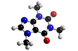 Molécula de cafeína (C8H10N4O2)