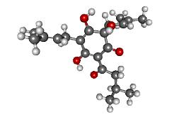 Molécula de humulona (C21H30O5) componente de la cerveza