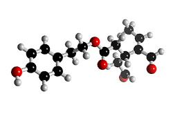 Molecula de Oleocanthal (C17H20O5 ) componente del aceite de oliva