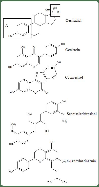 Similitudes estructurales de fitoestrogenos y oestradiol