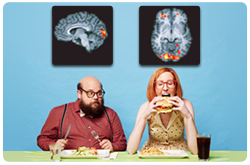 Actividad cerebral mostrando el contraste entre la condición de hambre y  la condición de saciedad